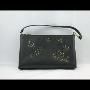 Coach Bandana Heart Wristlet Clutch Black Leather